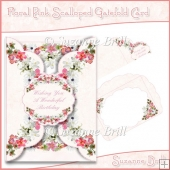Floral Pink Scalloped Gatefold Card