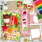 Fruity Ice Lollies Asymmetric Card