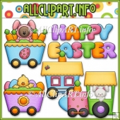 Funny Bunny Train Commercial Use Clip Art