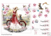 Summer Bicycle Card Front With Decoupage