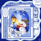 SNOWMAN IN LAMPLIGHT Christmas 7.8 Quick Layer or Decoupage Kit