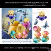 Easter Chicks and Spring Flowers Topper with Decoupage