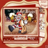 MERRY CHRISTMAS Santa & Rudolf 7.8 Decoupage & Insert Mini Kit