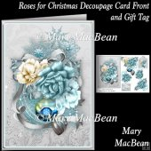 Roses for Christmas Decoupage Card Front and Gift Tag