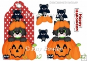 cute kitty with pumpkin and bat on a tag