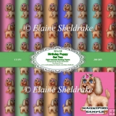 Birthday Puppies Set 2 12x12 Puppy Dog Papers CU PU 300 DPI