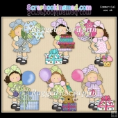 Hannah and Friends Birthday Girl ClipArt Graphic Collection