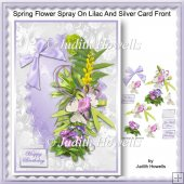 Spring Flower Spray On Lilac And Silver Card Front