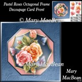 Pastel Roses Octagonal Frame Decoupage Card Front