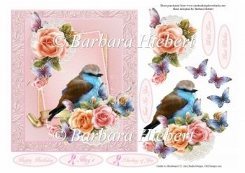 A Ladies Bird and Roses Topper and Decoupage