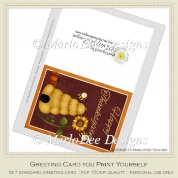 Beehive Happy Thanksgiving Printable Greeting Card