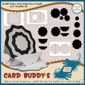Double Decker Wavy Edged Round Easel Card Template Set