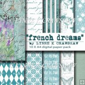 """FRENCH DREAMS"" 10 x A4 digital paper pack CU OK!"
