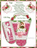 Peace on Earth Christmas Angel Handled Gift Bag and Tag Set