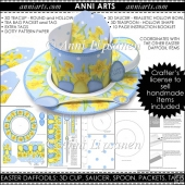 Easter Daffodils 3D Teacup, Saucer, Spoon, Packet