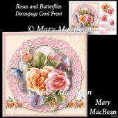 Roses and Butterflies Decoupage Card Front