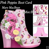 Pink Poppies Boot Card