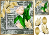 pretty corner gold tulips with bow, butterfly & brick effect 8x8