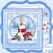 STAR STRUCK SNOWMAN Christmas 8x8 Decoupage & Insert Kit