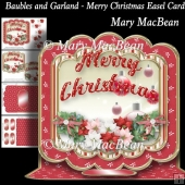 Baubles and Garland - Merry Christmas Easel Card