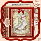 CHRISTMAS SKATES & HOLLY 7.8 Quick Christmas Card & Insert