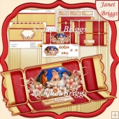 CHRISTMAS NATIVITY Large Dl Christmas Cracker Easel Card Kit