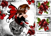 Gothic faerie in red sitting on a skull with red roses 8x8