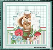 Squirrel and flowers 7x7 card