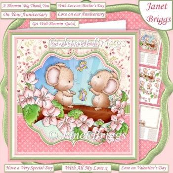 SPRING BLOSSOM MICE 7.5 Decoupage & Insert Mini Kit