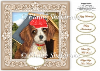 "Puppy Perfect - 8"" x 8"" Card Topper"