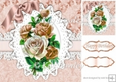 peach vintage roses on lace with bow 8x8