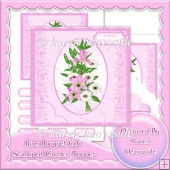 Pink Floral Bouquet 6x6 Scalloped Corner Topper