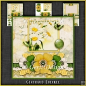 Vintage Grunge Card Kit Flowers and Laces yellow green 1150
