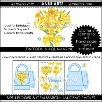 Birth Flowers and Gems March: Handbag Packet