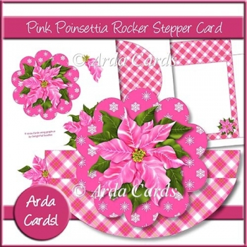 Pink Poinsettia Rocking Stepper Card