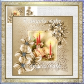 candles and poinsettias 7x7 card with decoupage