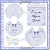 A PRETTY SCALLOPED BABY BOY BIB CARD