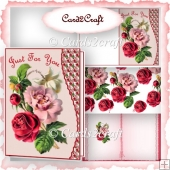 Wavy edge vintage red roses card set