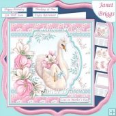 SWANS MOTHER & YOUNG 7.5 Decoupage & Insert Card Kit