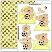 Yellow Football Bear PDF Decoupage Download