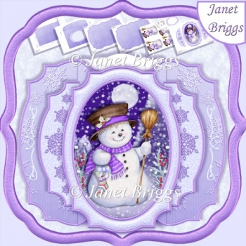 SNOWMAN IN MOONLIGHT Decoupage Double Pop Out Card Kit