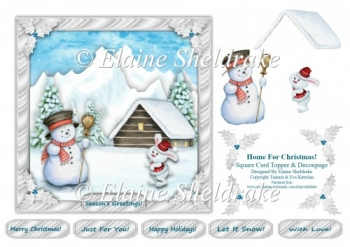 Home For Christmas - Square Card Topper With Decoupage & Tags