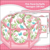 Pink Floral Butterfly Hexagon Gift Box