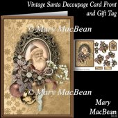 Vintage Santa Decoupage Card Front and Gift Tag