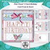 Pink Floral 7.5 Inch Birthday Card Front & Insert