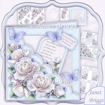 Square Scallop Pocket Silver Roses Wedding or Anniversary
