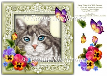 Silver Grey Tabby Cat 8 x 8 Card Topper With Pansy Decoupage