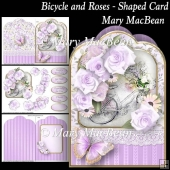 Bicycle and Roses - Shaped Card