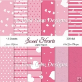 Pink Sweet Heart Papers - 12 Sheets