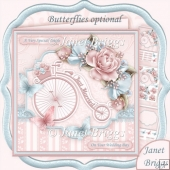 WEDDING BICYCLE & ROSES 8x8 Decoupage & Insert Kit